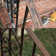 what of paint do you use on metal cabinets how do i repaint these metal railings used krud kutter and
