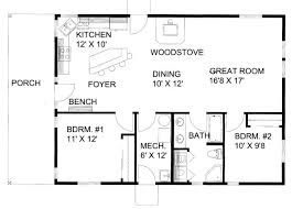 How Big Is 1100 Square Feet 1200 Square Foot One Story Floor Plan 1200 Square Feet 2