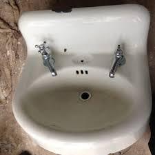 vintage porcelain over cast iron wall mount sink