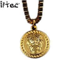 golden pendant necklace images Iftec hiphop golden lion pendant necklace pure gold color lion jpg