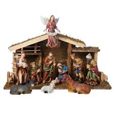 kurt adler halloween kurt s adler 12 piece nativity set with wooden stable seasonal