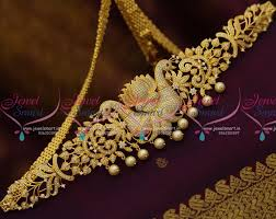 hip necklace chain images H8422 cz peacock jewellery 41 inches oddiyanam vaddanam kamarpata JPG