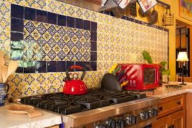 Mexican Tile Kitchen Ideas Detail Glazed Mexican Tile Backsplash In Hacienda Style Kitchen