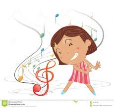 a little dancing with musical notes royalty free stock photo
