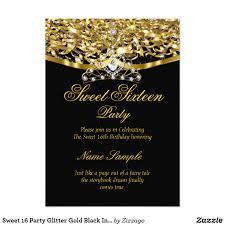Sweet 16 Invitation Cards Sweet 16 Party Glitter Gold Black Invitation Sweet 16 Regal Royal