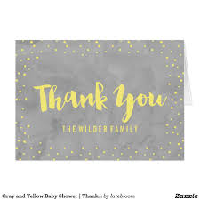 gray and yellow baby shower thank you card baby shower thank