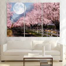 popular cherry art buy cheap cherry art lots from china cherry art unframed 3 piece home decor canvas art cherry blossom printed oil painting for living room free