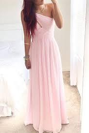 simple pink long chiffon cheap elegant girly prom dresses