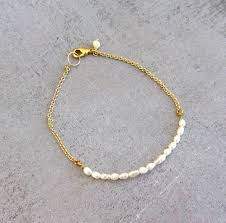 gold simple bracelet images Gold pearl bracelet simple dainty charm bracelet wedding jewelry jpg