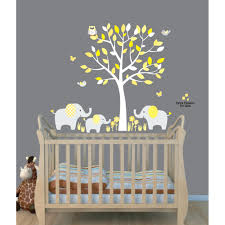Fabric Wall Decals For Nursery Yellow Safari Murals With Elephant Wall Decal For Baby Room