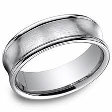 14k white gold wedding band benchmark 7 5 mm white gold concave satin finish mens wedding band