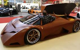 the car made out of wood at essen motor show in germany the