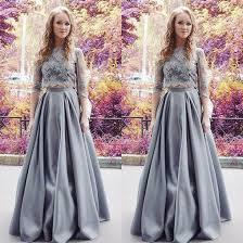 appliques a line stretch satin two pieces prom dresses 2017