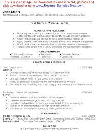 Core Qualifications Examples For Resume Waitress Resume Hitecauto Us