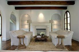 Restoration Hardware Side Table Mediterranean Living Room With Built In Bookshelf U0026 Cement