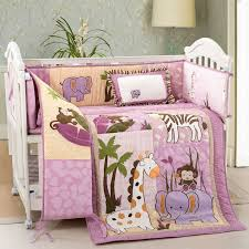 new pink beige safari animals monkey giraffe baby crib bedding