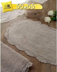 tappeti stile shabby tappeto bagno ovale shabby chic bordo crochet colore grigio 58 x