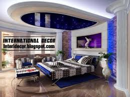 modern blue pop false ceiling designs for bedroom interior gypsum