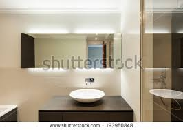 Beautiful Modern Bathrooms - internal shots modern bathroom foreground counter stock photo