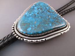 natural turquoise stone sterling silver u0026 natural nevada blue turquoise bolo tie by will