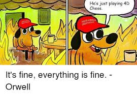 Everything Is Fine Meme - he s just playing 4d chess america again it s fine everything is