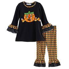 Notre Dame Infant Clothes Bonnie Jean Halloween Pumpkin Top U0026 Candy Corn Leggings Set