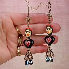 frida earrings frida kahlo earrings black water siren studio