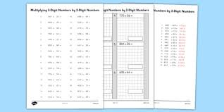 multiplying 3 digit numbers by 2 digit numbers activity sheet