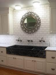 Large Tile Kitchen Backsplash Kitchen Style Butcher Block Countertop Checkered Ceramic Tile