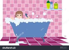 Pink Tile Little Observes Rules Hygiene Bathing Stock Illustration