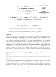 a low voltage and low power two stage operational amplifier using