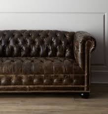Distressed Leather Chesterfield Sofa Tufted Sofas