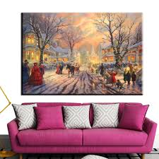 online get cheap thomas kinkade christmas aliexpress com xh1289 thomas kinkade victorian christmas carol scenery wall decor paintings art unframed
