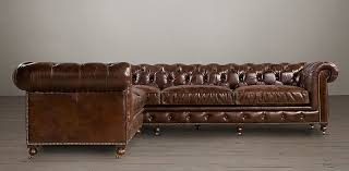 studded leather sectional sofa kensington leather sectionals rh