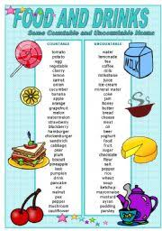 Countable And Uncountable Nouns List Teaching Worksheets Food And Drinks