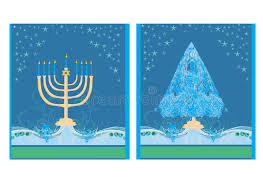 holidays cards with tree and channuka candles stock