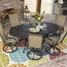 Sling Patio Dining Set Bay 7 Sling Patio Dining Set With Swivel Rockers And