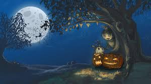 image fantasy pumpkin halloween moon night time trees 2048x1152