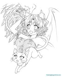 angel devil anime coloring pages coloring pages kids