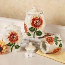 sunflower canister sets kitchen sunflower ceramic kitchen canister set sunflower