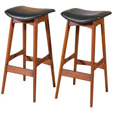 Leather Bar Chair Pair Johannes Andersen Teak And Leather Bar Stools At 1stdibs