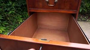 large brown leather top yew wood filing cabinet three drawer youtube