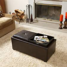 2 tray top mid century brown leather ottoman bench storage living