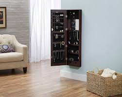 Wall Mirror Jewelry Storage Amazon Com Deluxe Mirrored Jewelry Armoire Espresso