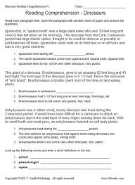 dinosaur reading comprehension worksheet 2
