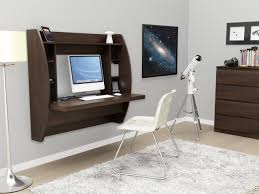 Wall Mounted Desk Ideas Mounted Chocolate Brown Walnut Wood Computer Desk Which Mixed With