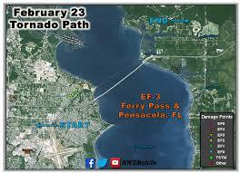 Florida Tornado Map by February 23 2016 Tornado Event