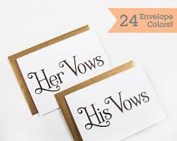 wedding vow cards wedding his hers vow cards etsy