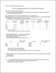 intro biology human demographic lab worksheet bio 103 u2013 complete