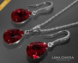 red crystal necklace set images Red crystal jewelry set wedding dark red earrings necklace set jpg